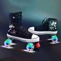 Wrotki Brezentowych Butów Z Oświetleniem Led PU Koła Podwójne linia Łyżwy Dorosłych 4 Koła Dwóch linii Roller Skating Buty Patines