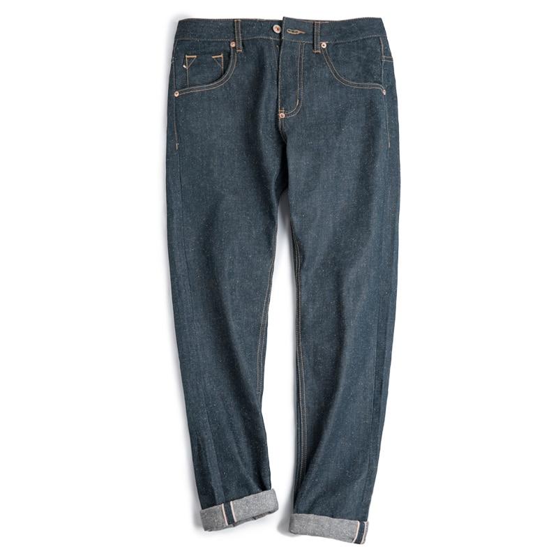 Maden 13OZ Raw Denim Selvedge Men   Jeans   100% Cotton Autumn Blue Indigo Vintage Straight Mid Waist Leather Patch Mark LOGO Zipper