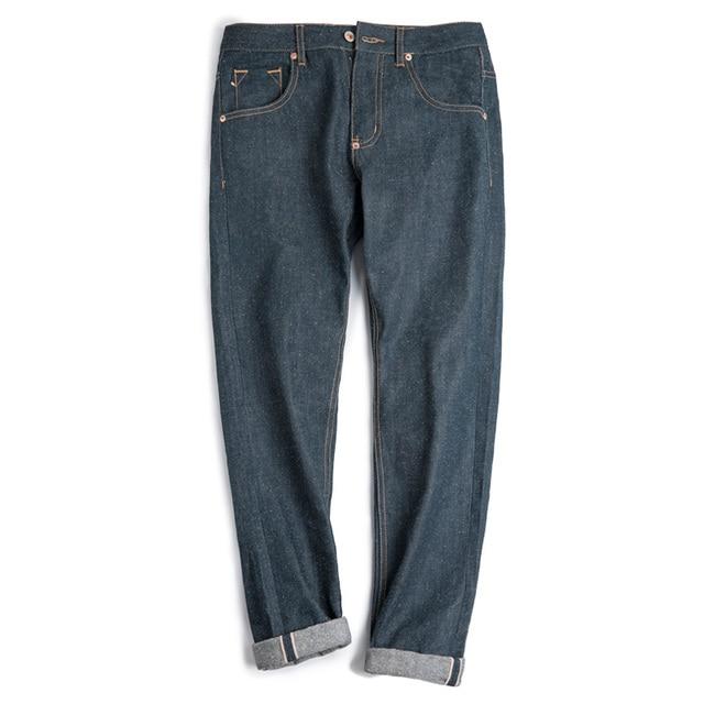 مادن جينز رجالي ضيق مستقيم الساق Selvedge أزرق داكن