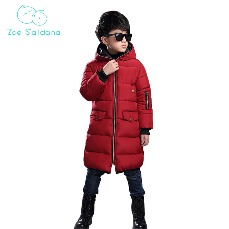 Zoe Saldana Boy's Coat 2017 New Winter Baby Boy Clothes Cotton Solid Thicken Casual Parkas Kids Hooded Warm Zipped Long Coats baby girls parkas 2017 winter thick outerwear casual coats children clothing kids clothes solid thicken cotton padded warm coat