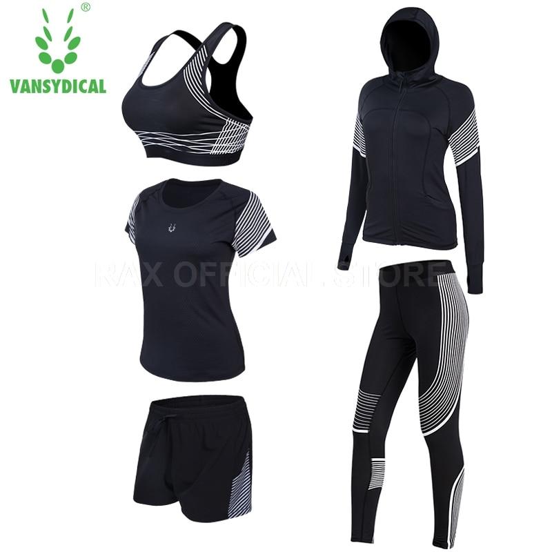 Vansydical Yoga Tracksuit For Women Legging 5pcs Sports Suit Sport Bra Fitness Tights Femal Gym Clothing