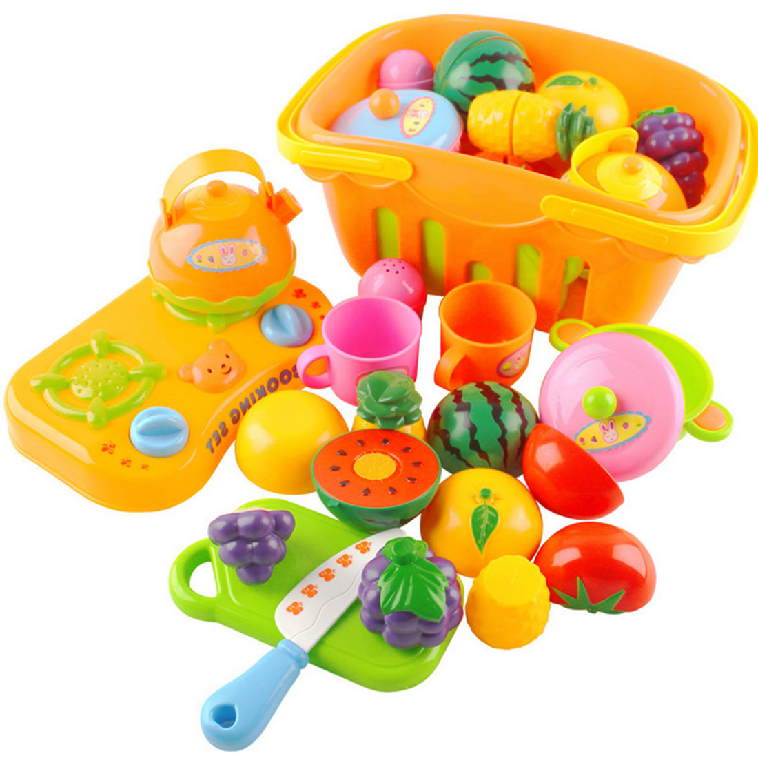 13Pcs/set Plastic Fruit Vegetable Kitchen Cutting Toy Early Development and Education Toy for Baby Kids Children - Color Random