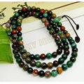 8mm Tibetan Buddhism 108 India Jade Prayer Bead Mala Necklace