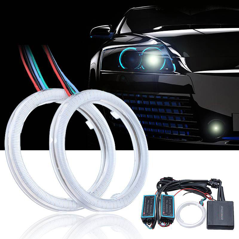 2pcs Multicolor RGB 70MM Car COB LED Angel Eye Lights Auto Halo Ring APP Phone Control Headlight DC12V-24V 2pcs universal fit 6000k 60 cob led 60mm angel eye chip on board halo ring retrofit for ford chevrolet mazda vw free shipping