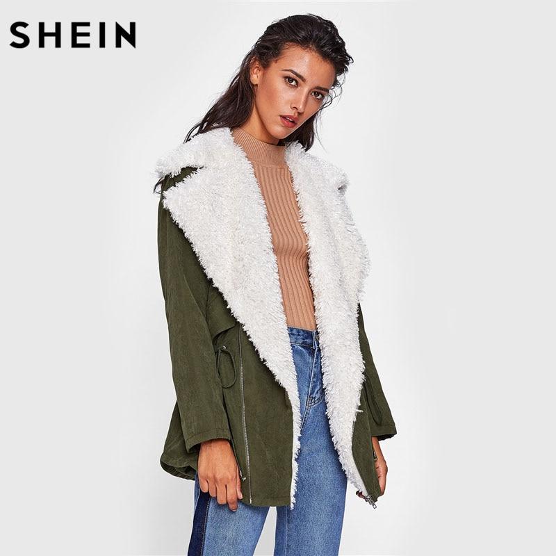 SHEIN Sherpa Lined Notch Collar Parka Coat Autumn Casual Green Long Sleeve V Neck Casual Zipper Women Winter Coat