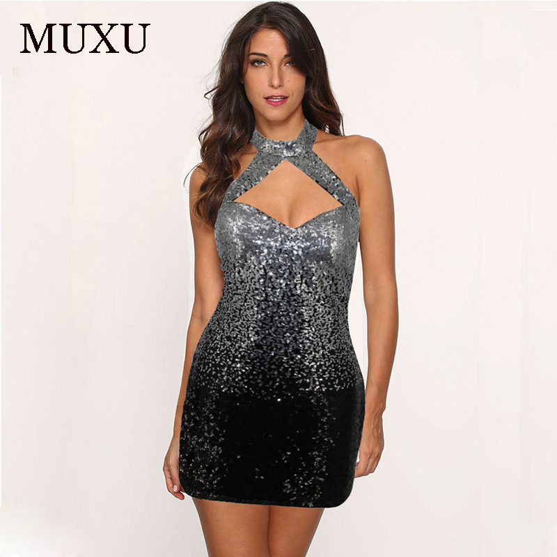 MUXU summer vestido sexy rainbow sequin dress vestidos mujer womens  clothing bodycon fashionable dresses backless clothes women -in Dresses  from Women s ... 0398072d63ae