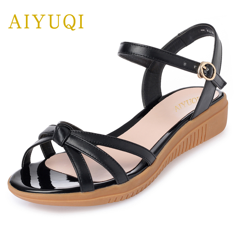 AIYUQI 2018 new genuine leather women sandals plus size 41#42#43# fashion portable comfortable summer ladies flat sandals aiyuqi 2018 new genuine leather women sandals summer flat middle aged mother sandals plus size 41 42 43 casual shoes female