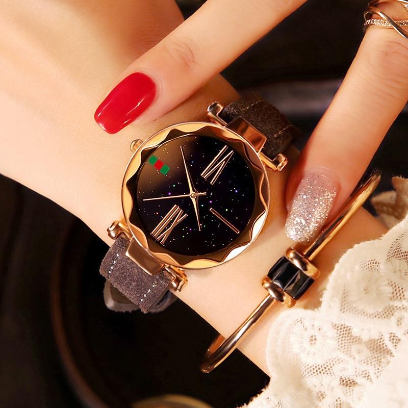Hot Luxury Quartz Watch Women Rose Gold Starry Sky Leather Bracelet Wristwatches Clock Fashion Casual Ladies Watch Reloj Mujer