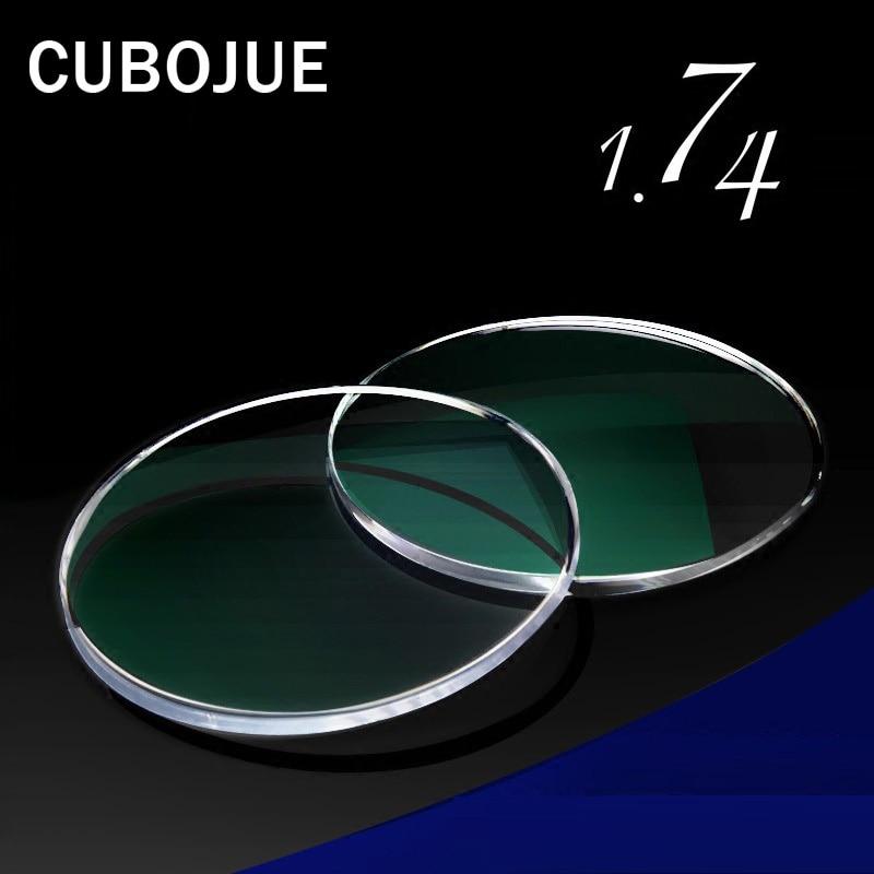 CUBOJUE 1.74 indice résine lunettes lentille asphérique ultra-mince Anti-rayonnement bleu Prescription lentille myopie/hyperopie/presbytie