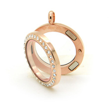 10pcs/lot 20mm Rose Gold Stainless Steel Magnetic Glass Floating Locket With Rhinestones Living memory locket pendant
