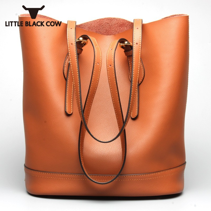 Solid Womens Bag Fashion Real Leather Large Shoulder Bucket Bag Female Casual High Capacity Handbags Travel Women Bags Designer hansomfy womens handbags solid patent leather shoulder bag european and american style versatile female vintage bucket brand bag