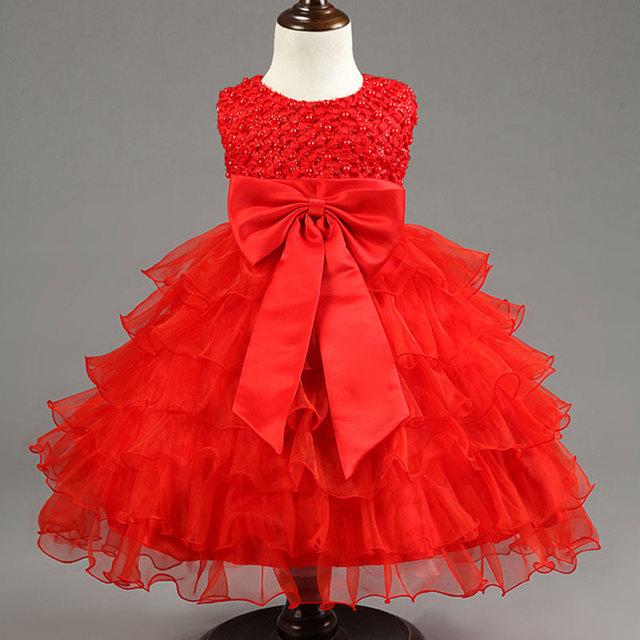 Vestido de Princesa De Las Muchachas Infantiles de verano Recién Nacido 0-1 Año de Cumpleaños Perla Arco Patrón Plisado Vestidos Ropa Del Niño Recién Nacido