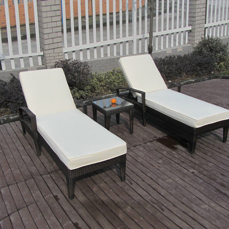 3 pcs Comfortable Luxury Rattan Sun Lounger For Swimming Pool / Beach transport by sea modern swimming pool waterproof rattan sun lounger transport by sea