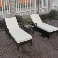 3 pcs Comfortable Luxury Rattan Sun Lounger For Swimming Pool / Beach to sea port by sea