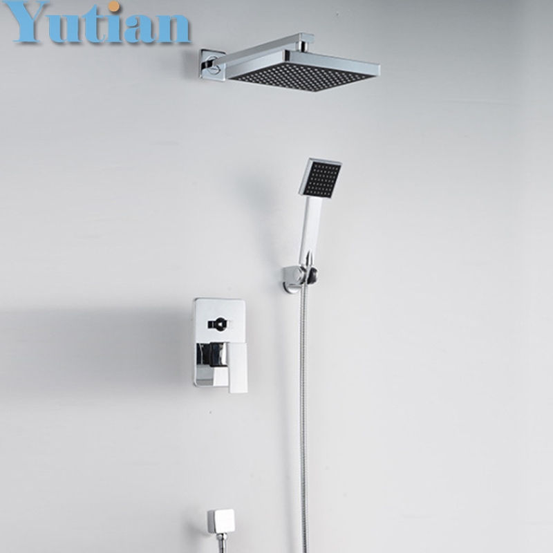 Free shipping shower faucet bathroom concealed rainfall square shower set faucet bath tap mixer chuveir low price ,YT-5304 free shipping polished chrome finish new wall mounted waterfall bathroom bathtub handheld shower tap mixer faucet yt 5333