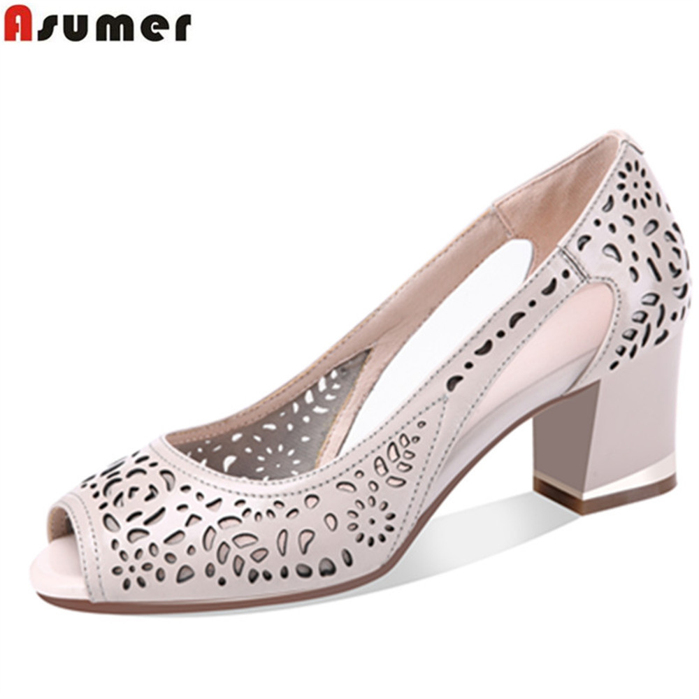 ASUMER black beige fashion spring autumn shoes woman peep toe shallow elegant Hollow thick heel women genuine leather shoes asumer black gray beige fashion spring autumn shoes woman round toe shallow casual square heel shallow flock low heels shoes