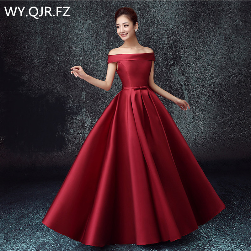 PTH2145#Off Shoulder Lace Up Plus Size 2018 New Bridesmaid Dresses For Autumn And Winter Bride's Wedding Gown Cheap Wholesale