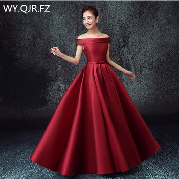 QNZL-BSHS#Off Shoulder Lace Up Plus Size 2020 New Bridesmaid Dresses For Autumn And Winter Bride's Wedding Gown Cheap Wholesale