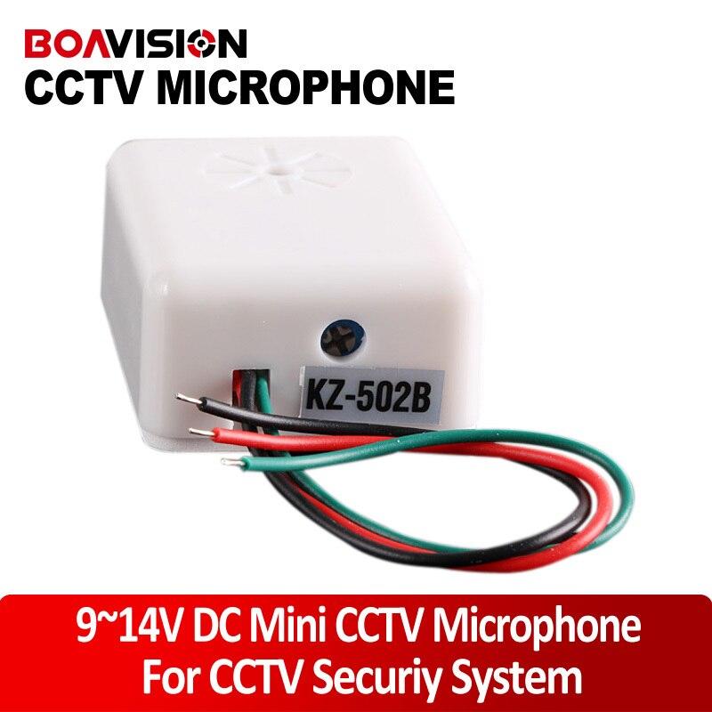 Audio pick up 9-14V DC Power Wide Range Mic Audio Microphone Adjustable Sensitivity Low-noise CCTV Microphone For Camera aputure v mic d2 sensitivity adjustable directional condenser shotgun microphone