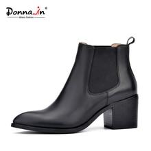Donna-en 2017 nouveau style en cuir cheville bottes bout pointu talon épais élastique femmes de courtes bottes grande taille femmes chaussures