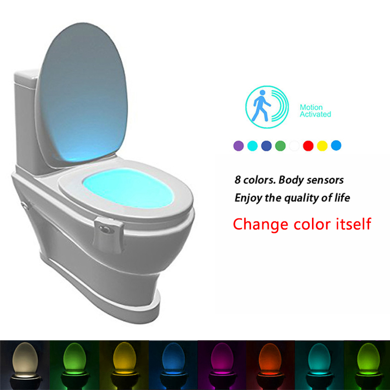 Z10 <font><b>Sensor</b></font> Toilet Light <font><b>LED</b></font> Lamp Human Motion Activated PIR 8 Colours Automatic RGB <font><b>WC</b></font> Night light can be change color by itself