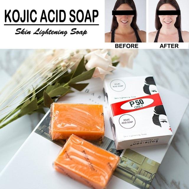 Brand Handmade Whitening Soap Skin Lightening Soap Bleaching Kojic Acid Glycerin Soap Deep Cleaning Brighten Skin 2pcs/box