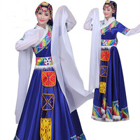 Tibetan women dance costumes ethnic Tibetan stage costumes Tibetan women Tibetan national dress