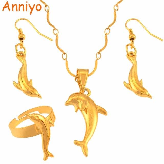 48623d4c € 7.67  Aniyo delfín conjunto de joyas de Color oro Animal collar  pendientes anillos PNG joyería regalos para mujeres niñas #119006 en  Conjuntos ...