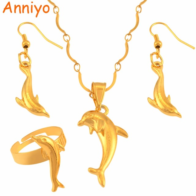 Anniyo Dolphin Jewelry set Gold Color Animal Necklace Earrings Rings PNG  Jewellery Gifts for Women Girls  119006 bcf26665409f