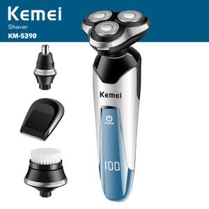 100-240V kemei 3D electric shaver razor men shaving machine nose trimmer rechargeable floating beard shaver waterproof face care