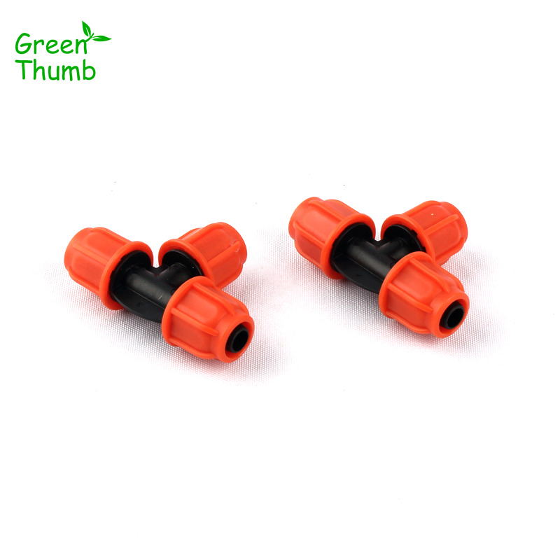 6pcs 8/11mm Garden Hose Thread Lock Equal Tee Orange Plastic Pipe Splitters Connector Micro Drip Irrigation System Parts Fitting
