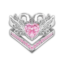 2PCS Romantic Zircon Cute Swan Rings Sets For Women Luxury Wedding Silver Anillos Pink Heart Crystal Ring Female CZ Anel