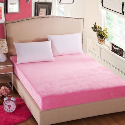coral fleece velvet fitted sheet cover high quality mattress cover for home hotel bed