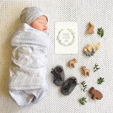Новинка года, модное хлопковое Пеленальное Одеяло для новорожденных девочек и мальчиков+ шапка с принтом для завёртывания для пеленания одеяло шляпа, комплект