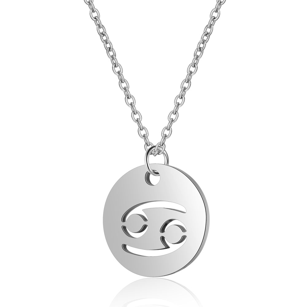 Dovolov Simple Round Aries Long Pendant Necklace For Women libra zodiac stainless steel Necklaces Constellation Fashion D3 in Pendant Necklaces from Jewelry Accessories