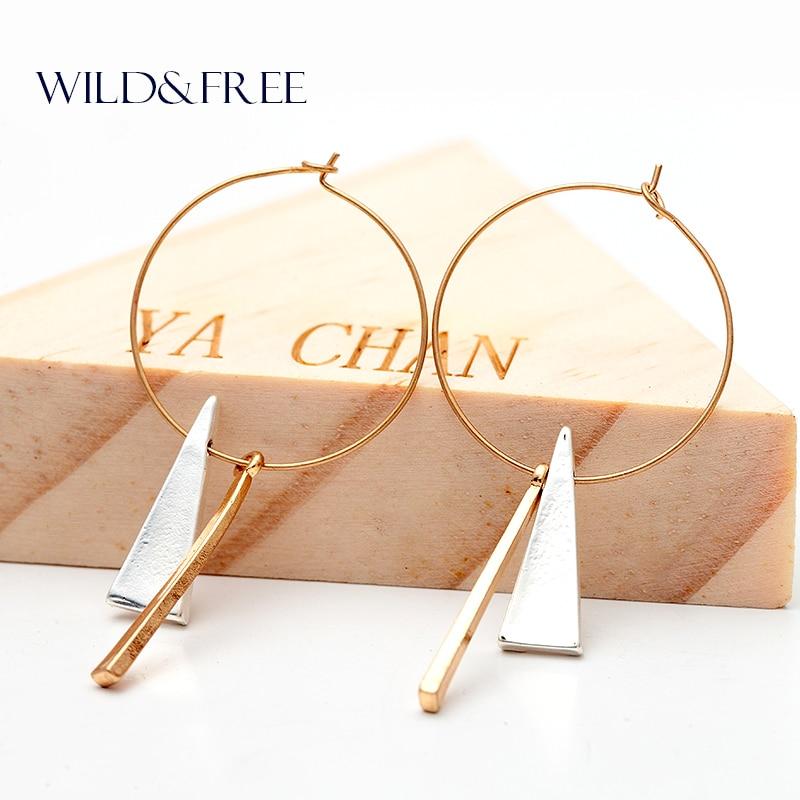 Kadınlar Altın Büyük Daire Geometrik Kolye Hoop Küpeler Vintage Minimalist Üçgen Metal Kolye Küpe Takı Kadınlar için