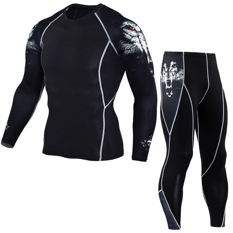 Տղամարդու վերնաշապիկ 3D պատանի տաբատ Տաբատ Տաբատ երկար թև վերնաշապիկ տղամարդկանց լիկրա MMA Crossfit T-shirt զուգագուլպա հագուստ