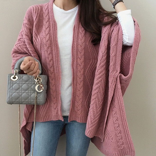 Cardigan Irregular Batwing Tops Knitted Poncho Sweater 2
