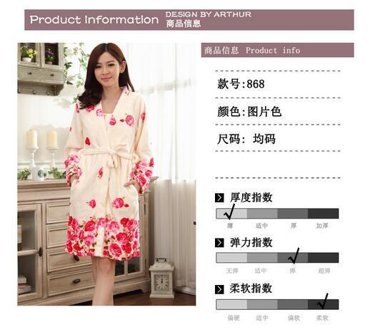 Inverno quente vender flanela roupões Coral Fleece Robe mulheres de manga comprida roupões espessamento Plus Size casa Sleepwear casuais
