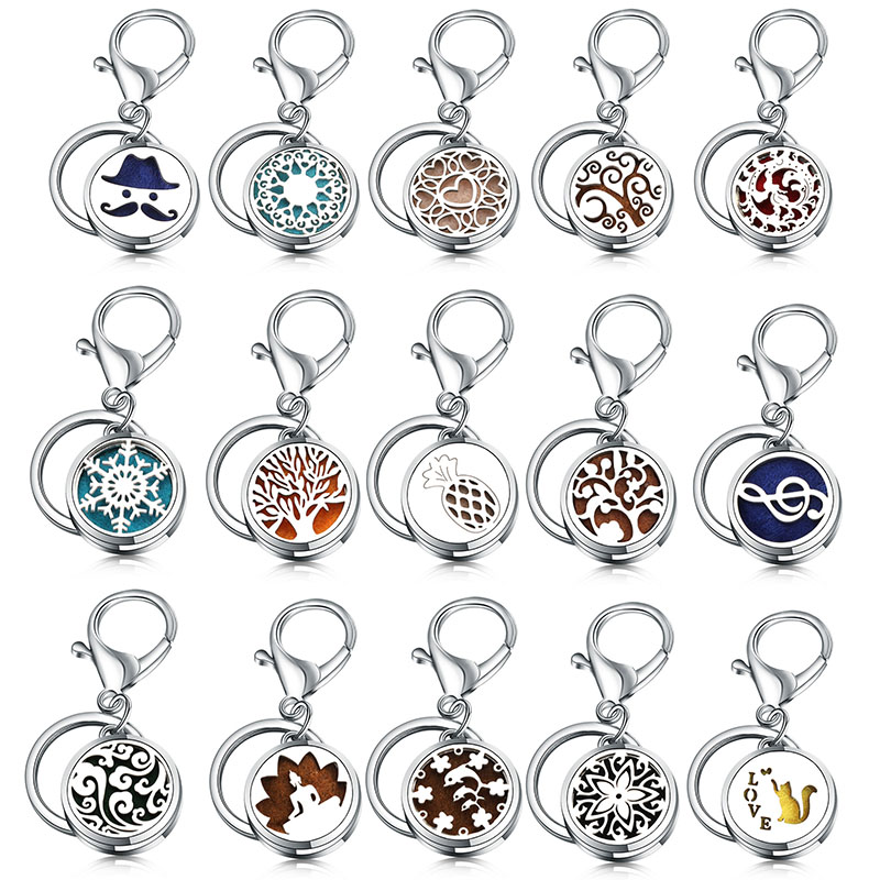 Round 28MM Fashion Perfume KeyChain Jewelry Stainless Steel Essential Oil Diffuser Perfume Aromatherapy Locket Key Chain Jewelry