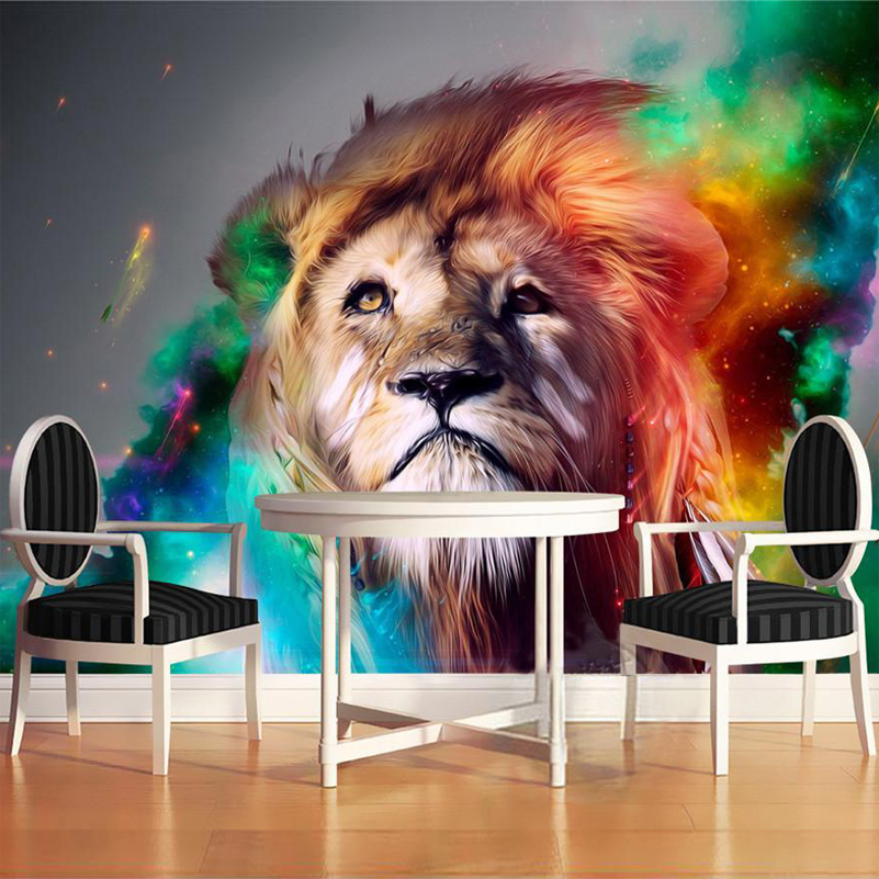 Custom 3D Mural Wallpaper Print Modern Living Room Sofa TV Bedroom Fashion Colorful Lion Photo Background Decor Wall Paper Rolls