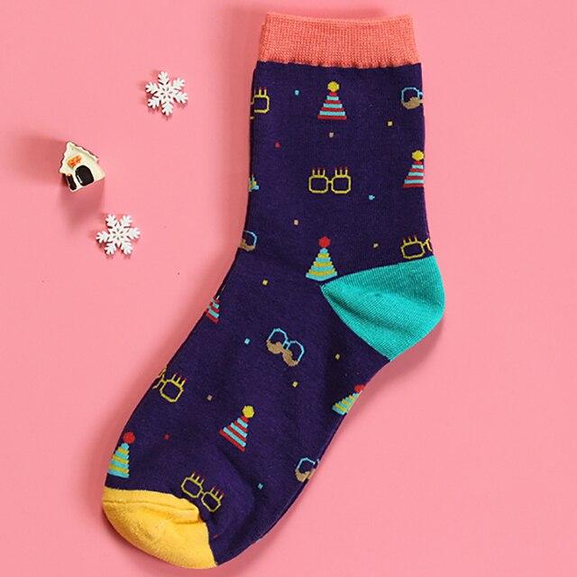 OtherLinks 3pcs/set Cartoon Print Cotton Socks Female Creative Print Cute Thin Fashion Socks 2017: Lion, Chick, Purple Glass&Hat