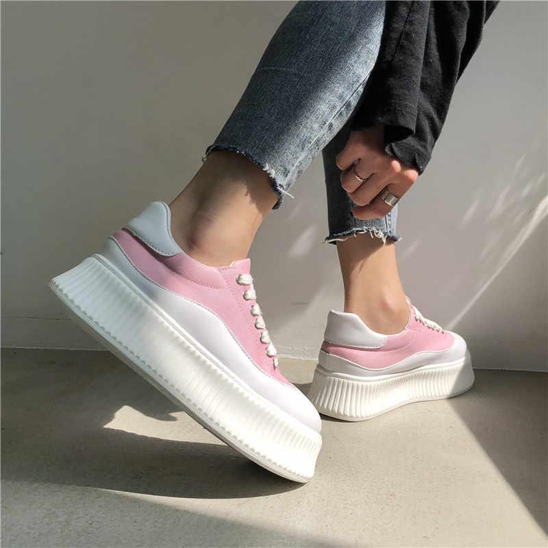 COOTELILI Wohnungen Leinwand Schuhe Für Frauen Creepers Damen Flache Plattform Schuhe Oxfords Frau Turnschuhe