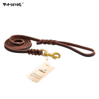 T MENG Genuine Leather Leash For Dogs Braided Heavy Duty Handmade Strong Training Leads Pitbull Medium
