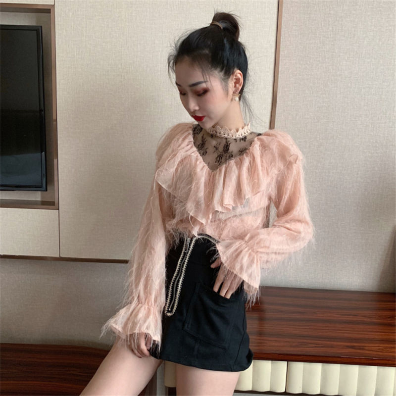 Blusas Colores Manga Larga Encaje Camisa Tops Elegante 2019 Mujer 3 Oficina Otoño white Blusa Primavera pink De Hzirip Black Casual Salvaje Dulce CqUava