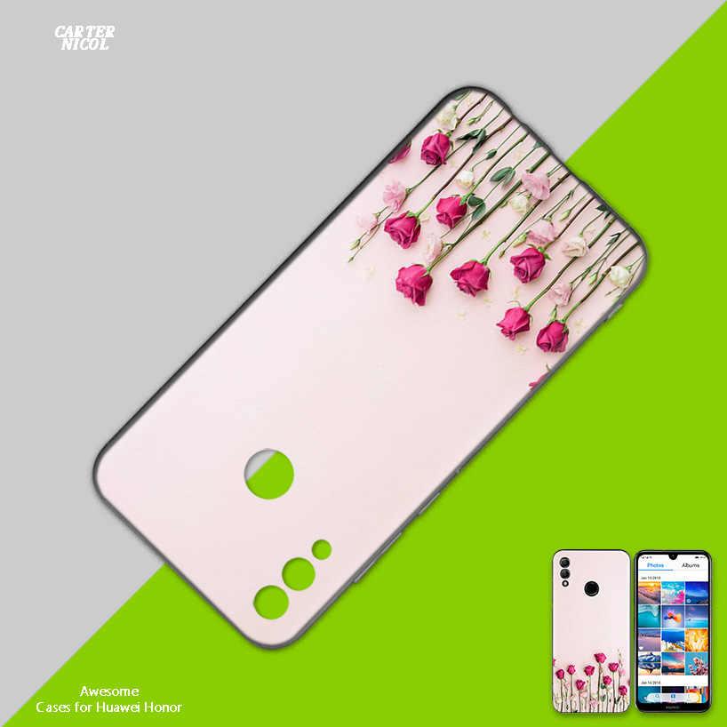 Tulips Flower Aesthetics Black Silicone Case Cover for Huawei Honor 8X 8C 8A 8S 10 10i Lite Play V20 Y9 Y7 Y6 Y5 Prime 2018 2019
