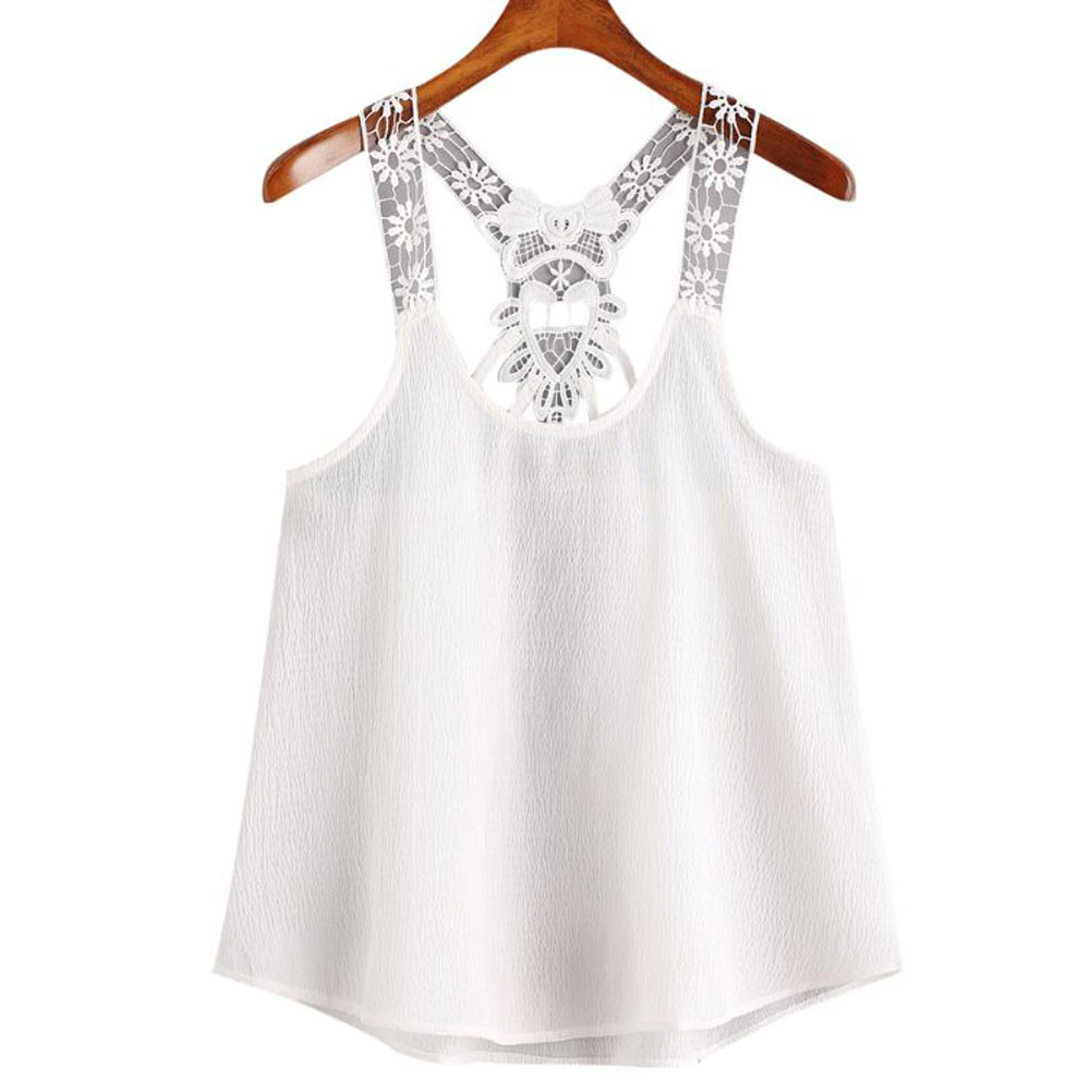 Hot Selling Camis Summer Women Lace Vest Ladies Sexy Sleeveless Chiffon Crop Tops Womens Casual Loose White Shirts Cropped #YL