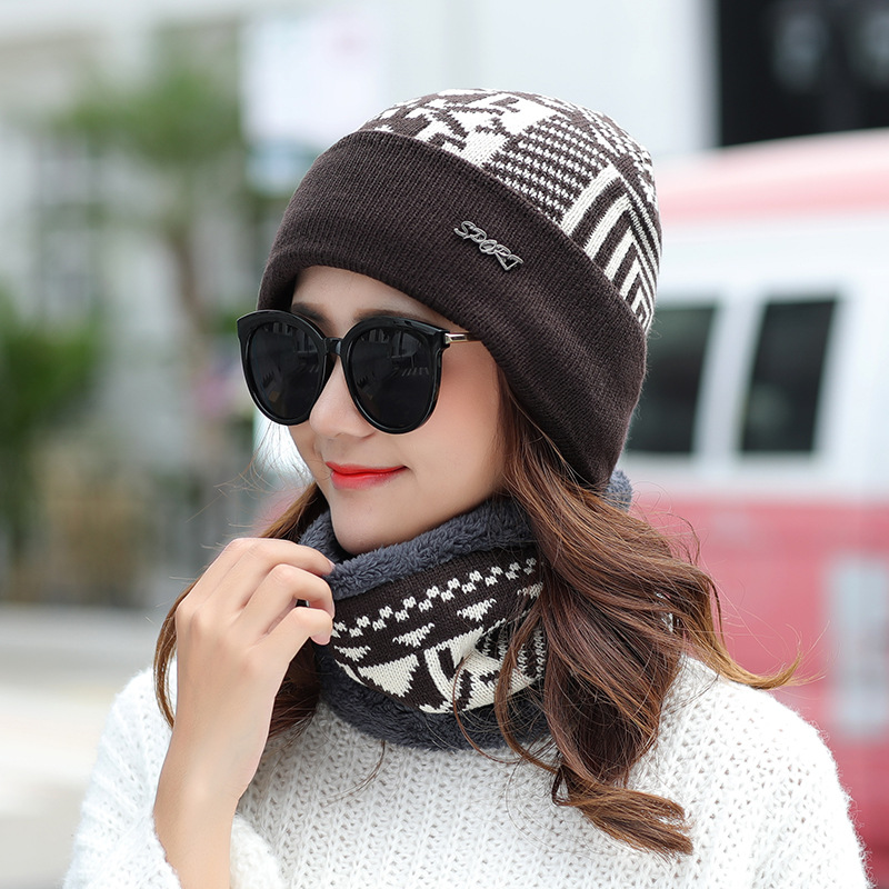Beanies With Scarf Knitted Hat Women's Winter Hats For Men Soft Cap Keep Warm Fur Winter Protect The Ears Beanie Knit Bonnet Hat hip hop beanie hat baggy unisex cap thick warm knitted hats for women men bonnet homme femme winter cap plus velvet beanies