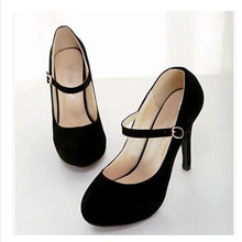 Flock Mary Janes Shoes 2015 Fashion Casual Plain Women Buckle Platform Pumps Round Toe High Heel Shoes Spike Heel Pumps