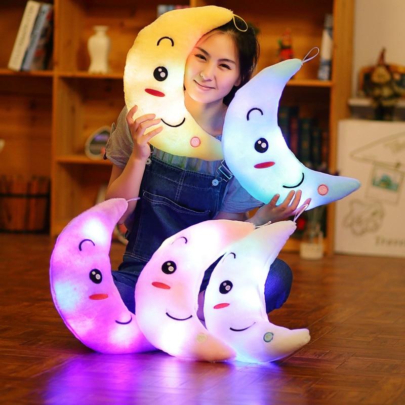 Miaoowa New 35cm Colorful Moon Shape Plush Toys Luminous Glowing LED Light Pillow Soft Stuffed Lovely Kids Toy Birthday Gift